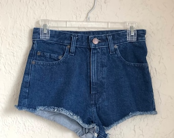 high waisted dark wash distressed denim shorts