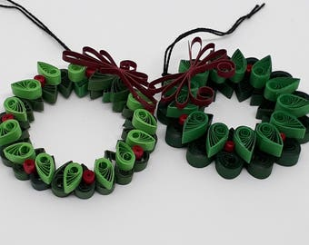 Quilled Christmas Wreath Ornaments - Includes Two Wreaths and Free Gift Package.