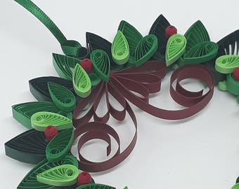 Quilled Large Wreath Ornament - Decorated Both Sides Perfect for Window Display.