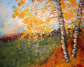 Giclee print of original acrylic painting of silver birch