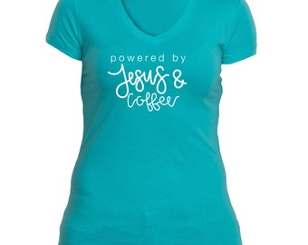 Powered by Jesus & Coffee Women's V-neck
