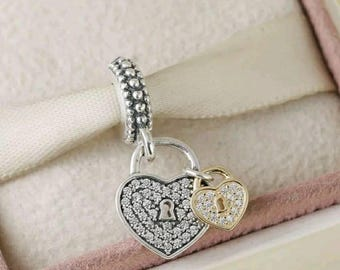 Pandora Locks of Love Dangle Heart Charm/New/Ale/s925