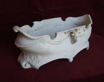 Antique porcelaine Français béliers tête chateau jardiniere 17ème-18ème siècle