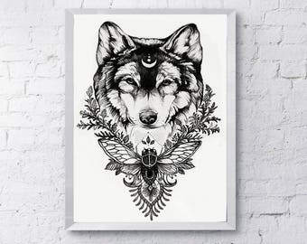 Earthen Wolf Ink Drawing