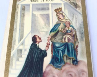 Vintage prayer card - Efficacious PRAYER to MARY, Queen of our hearts