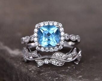 Blue topaz ring set,7mm Cushion topaz engagement ring,Art Deco,Art Nouveau,Vintage,Man made Diamond wedding band,Floral Milgrain,Silver ring