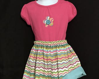 CLEARANCE!! Toddlers Chevron Reversible Skirt Set; Aqua & Hot Pink Skirt Set; Reversible Skirt Set; Girls 3-4T Top and Skirt; Toddlers Skirt