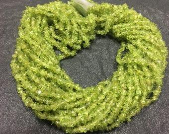 Peridot uncut chips beads, 36 inch strand