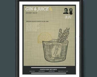 Gin & Juice - Dr Dre Snoop Doggy Dogg A2 Print