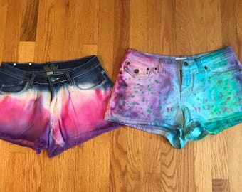 Pink and purple ombre shorts