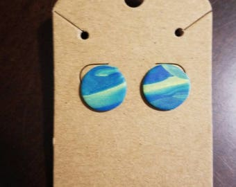 Round blue and yellow marbled clay stud earrings