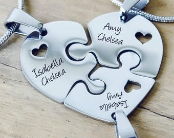 Puzzle Necklace, Triple Necklaces, Sister, Siblings, Gifts for Mum, Gifts for Mother, Puzzle Pieces, Personalised Puzzle Necklaces ONLY 89