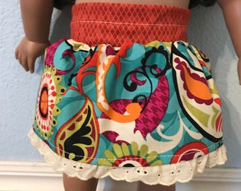 Paisley Floral Skirt for American Girl or Other 18 inch Doll