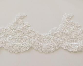 White lace guipure 12 cm wide