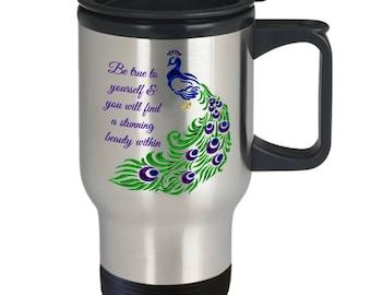 Peacock travel mug - Peacock coffee travel mug - Peacock feather mug - Be true to yourself! Travel Mug