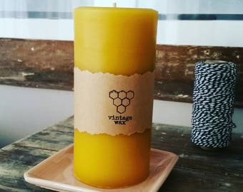 Wide beeswax pillar candle - large 16cm high