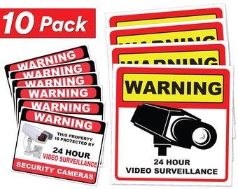 Video Surveillance Sticker Sign Decal - 10 Pack - Home Business Camera Alarm System Stickers Adhesive Under 24 Hours Security Warning Signs