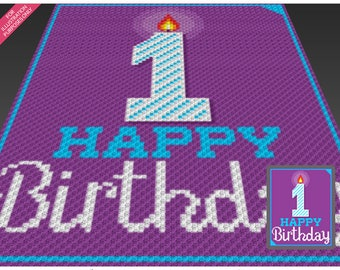 Happy Birthday 1 crochet blanket pattern; knitting, cross stitch graph; pdf download; no written counts or row-by-row instructions