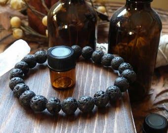 Aromatherapy Lava Stone Stretch Bracelet, Lava Bead Aromatherapy Bracelet, Chakra Healing, Essential oil,  Reiki, Yoga, Spiritual Healing