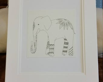 Elephant in Pen and Ink