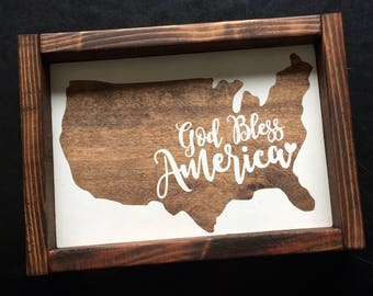God Bless America rustic wood sign