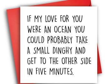 Funny Anniversary Card/ Valentines Card/ Ocean Love