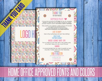 Care Cards Home Office Approved; happiness policy; Thank You Card; Care Instructions; Thank You Cards; approved fonts and colors; Printable!