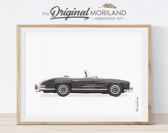 Mercedes Benz 300SL Print, Classic Car Art, Vehicle Print, Car Printable Art, Boys Room Decor, Transportation Wall Decor, Mens Office Decor