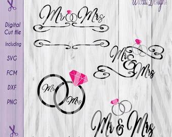 Mr & mrs svg, Wedding svg, Wedding Rings svg, Wedding banner, split banner svg, diamond ring svg, dxf cut file, fcm files, svg for cricut