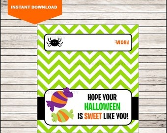 Sweet Candy Halloween Bag Toppers - Halloween Birthday Bag Toppers - Halloween Bag Labels - Halloween Treat Bags - Halloween Treat tags