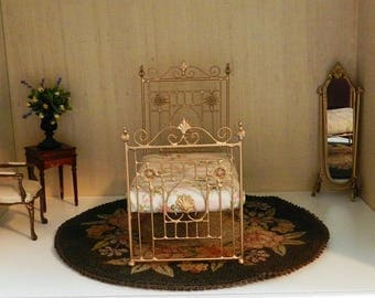 """Artisan Made Dollhouse Miniature Wrought Iron Look Bed  """"CHARLESTON"""" 1:12 Scale, Half Scale"""