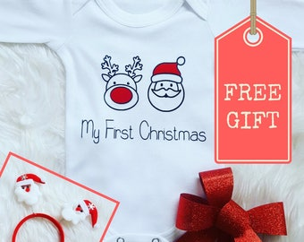 My 1st Christmas onesie with FREE GIFT, My First Christmas baby onesie, Christmas Baby outfit, Baby Christmas gift, Stocking Filler