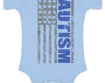 Autism Awareness USA Flag Baby Short Sleeve Bodysuits One Piece  Bodysuit Tops Autistic Support American Flag Puzzle Piece