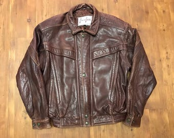 Vintage Classic Coletti Leather jacket Brown-burgundy color Medium mens Great condition