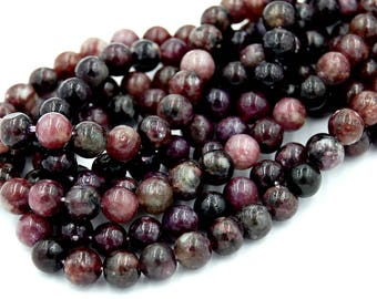 """Two 15.5"""" strands, Purple Mica Beads Round Lepidolite  6mm"""
