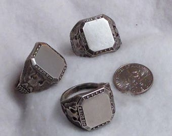 Men's Vintage Sterling Silver Signet Initial Rings by THEDA with Eagles on Shoulders – Sizes 9.5, 10.25 and 11.5