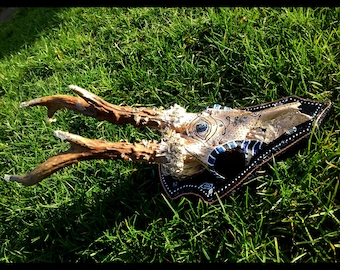 all seeing eye , unalome Deer skull hand painted