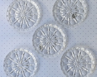 5 glass coasters, really gepresst, Crystal bleikristall