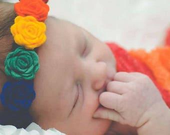 Felt Flower Crown-Rainbow, Rainbow Baby Headband, Rainbow Baby Gift, Rainbow Baby Outfit, Newborn Flower Halo, Rainbow Flower Headband
