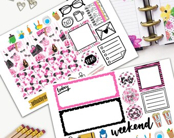 Fashion Girl Weekly Planner Sticker Set, MINI Happy Planner Stickers, Weekly Set, Stickers, Printed, Cut, Pink, Minnie, Mouse,