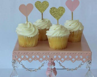 Heart Toppers- Heart Cupcake Toppers - Wedding Cupcake Toppers - Bridal Shower Decorations - Bridal Shower Cupcake Toppers