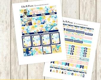 30% OFF SALE Adventure Awaits DARK Printable Planner Stickers/Monthly Kit/Erin Condren/Cutfiles June Summer  Glam Vacation Travel