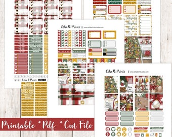 Mistletoe Printable Planner Stickers/Weekly Kit/For Use with Erin Condren/Cutfiles Winter December Christmas Glam Cookies Santa Mail Glitter