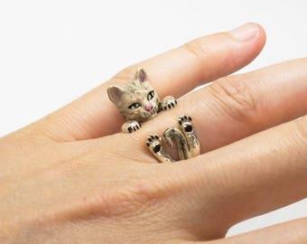 Silver ring 925 Silver ring-sculptured-dog-dog lover--dog lover-enamels-My pet CAT dog hug: Silver ring
