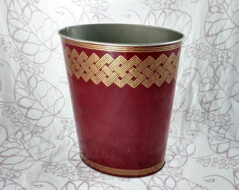 Decoware Metal Trashcan, Red with Gold Woven Design