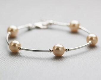 Bangle Bracelet Bead Bracelet Wedding Bracelet 925 Sterling Silver Bracelet with 8mm Swarovski Pearl Beads Bridesmaid Bracelet