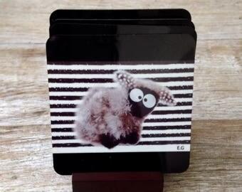 Set of 4 coasters with original glass sheep and stripes