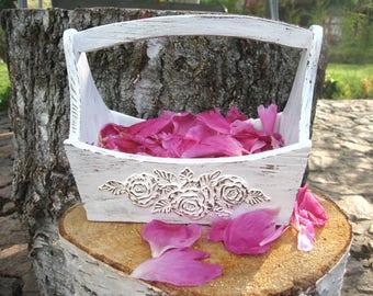 Flower girl Basket.Wedding White Basket. Wedding Ceremony.Wedding Decor. Wedding Basket. Shabby chic Wooden Basket.Hand structural painting