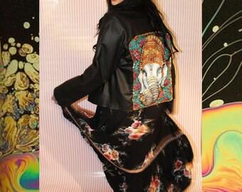 Leather Grunge Boho Elefant jacket