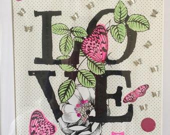 Mixed Media LOVE art butterflies